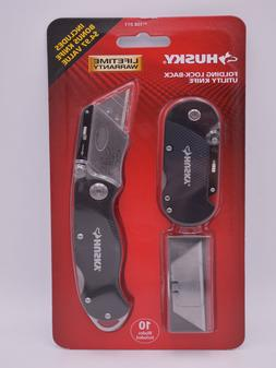 2 pack HUSKY Folding Utility Knives & 10 Blades FREE Shippin