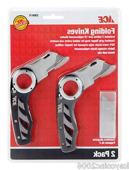 2 Pack Folding Utility Knives w/ 10 Replacement Blades