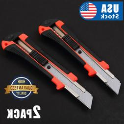 2 PACK Knife Box Cutter Retractable Snap Off Lock Razor Shar