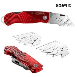 2 Pack Utility Knife 10 Extra Blades Aluminum Alloy Carbon S
