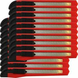20 Bulk Small Red Utility Knife Box Cutters Snap Off Blade 9