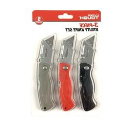Hyper Tough 3 Piece Utility Knife Set NON SLIP Box Cutter Ha