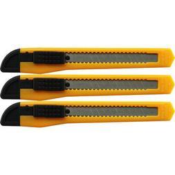 3 Yellow Utility Knife Box Cutters Heavy Duty Industrial Str
