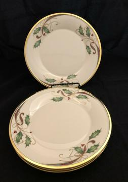 4 Lenox Holiday Nouveau Gold Rimmed LUNCHEON Plates Mint USA