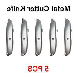 5 Pack Utility Metal Cutter Knife Heavy Duty Box Cutter Retr