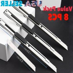 8 PCS Stainless Steel Retractable Utility Knife For Cutting