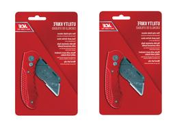ACE HARDWARE Folding Utility Knife Box Cutter red handle w/c