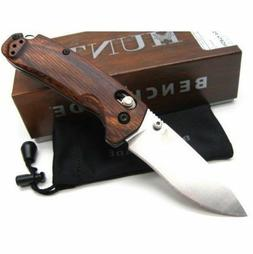 *BENCHMADE Brown Wood NORTH FORK Plain Satin S30V Folding Po