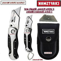 CRAFTSMAN 2 PC LOCK-BACK WOOD HANDLE UTILITY KNIFE SET W POU
