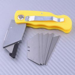 Folding Lock Back Utility Knife + 5 Replacement Replacement