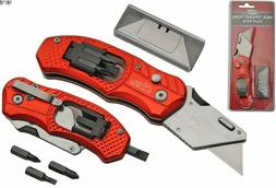 Folding Lock Back Utility Knife Box Cutter Clip 5 Blades Wit