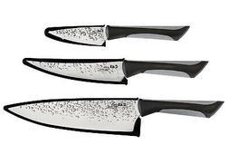 Kai Luna 3 Piece Knife Set with Sheaths and Soft-Grip Handle