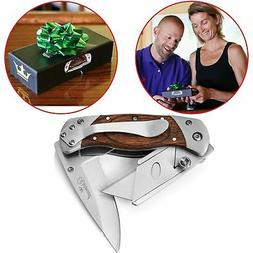 Vermont 2 in 1 Folding Utility Knife, Box Cutter Wooden Hand
