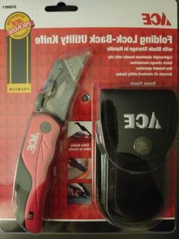 Ace Folding Lock-Back Utility Knife With Case Brand NEW