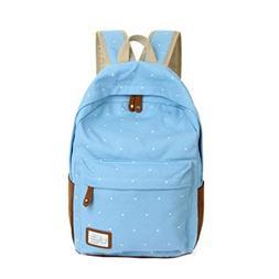Thsyeabag Canvas Shoulder Girls Backpack Dots Schoolbag Back
