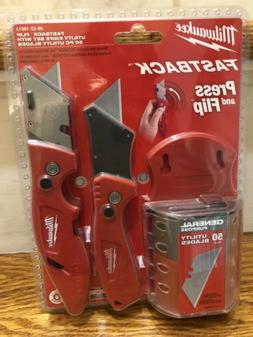 Milwaukee Fastback Flip Utility Knife 2 Piece Set with Razor