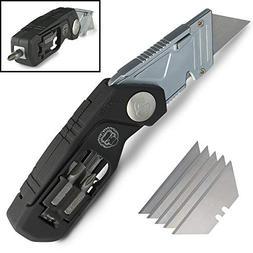 Folding Lockback Utility Knife - Box Cutter with Wire Stripp
