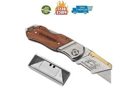 WORKPRO Folding Utility Knife Wood Handle Heavy Duty Cutter