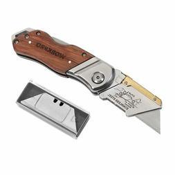 WORKPRO Folding Utility Knife Wood Handle Heavy Duty Cutter