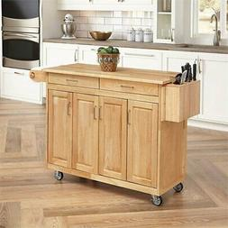 Home Styles Furniture Kitchen Cart with Breakfast Bar in Nat