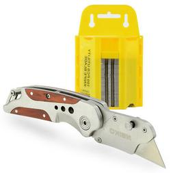 Heavy Duty Folding Utility Knife with 100pc Replacement Util