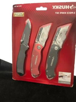 Husky 3-Pack Knife Set Folding Lock-Back Utility Knives & Po