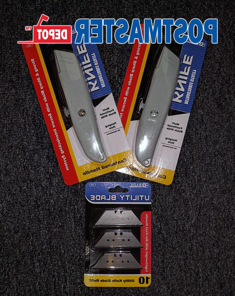 2-Pack Bazic Utility Knife with 10 Refill Blades Lot, Strong