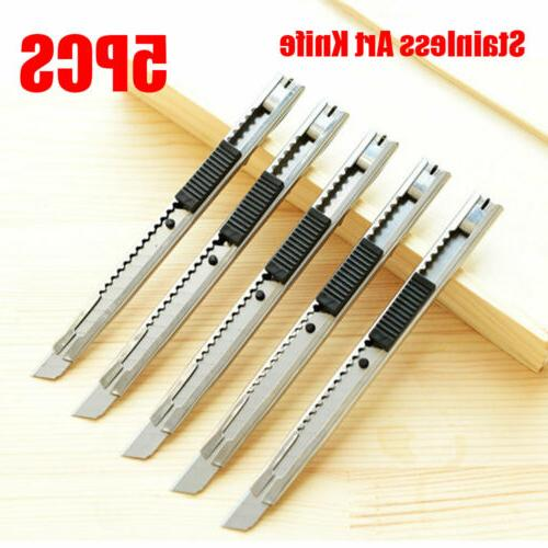 5pcs silver stainless steel utility knife slim