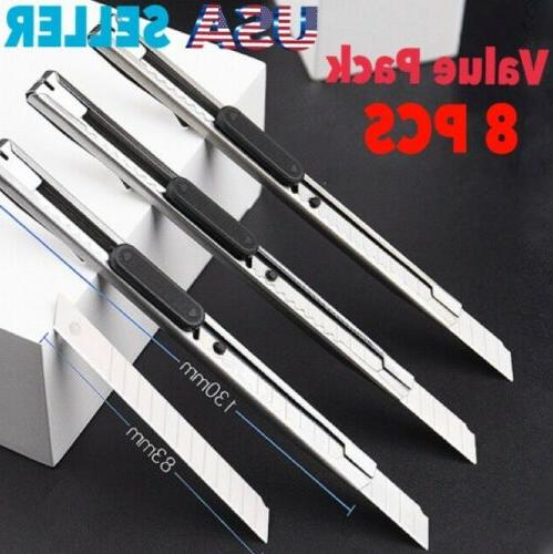 8 pcs stainless steel retractable utility knife