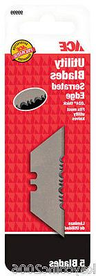 ACE PARTIALLY SERRATED Utility Knife BLADES Card of 5