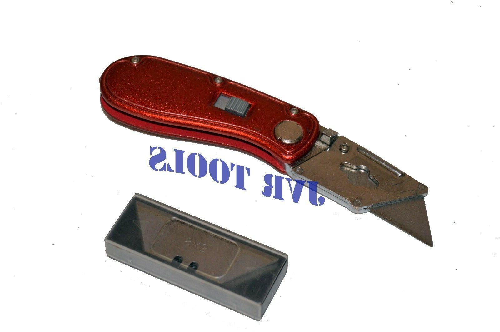Folding Lock Back Utility Knife Box Cutter Clip 10 Blades Qu