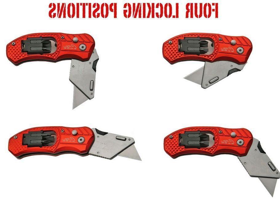 Folding Knife Box Cutter 5 Blades Bits