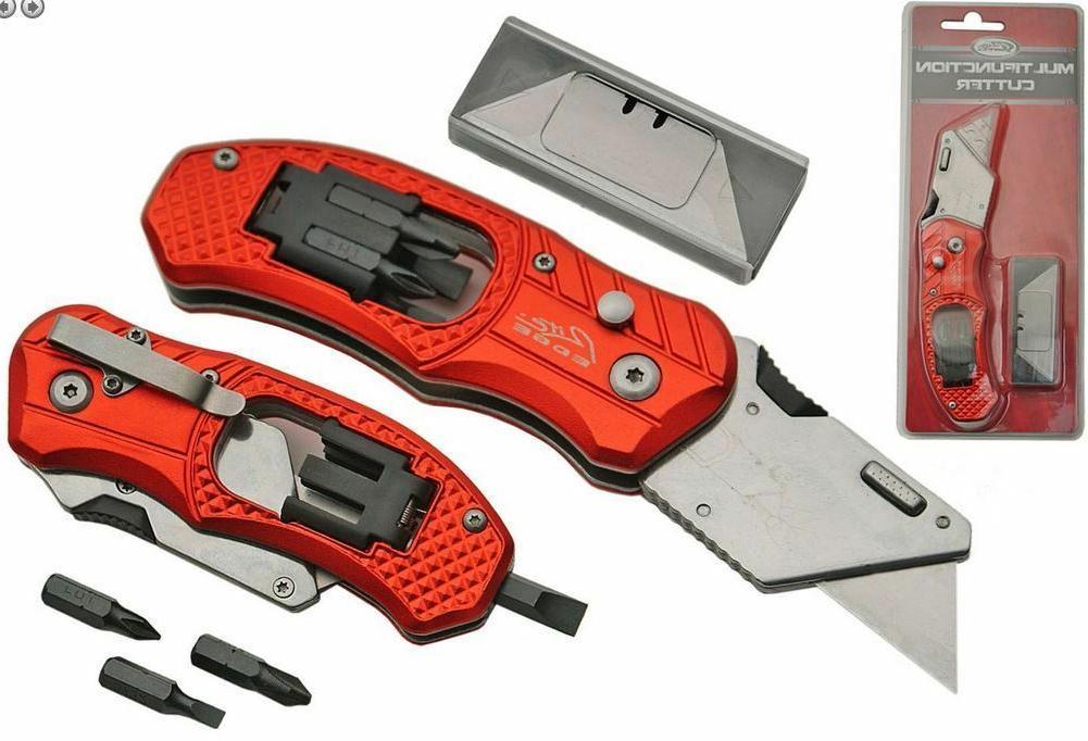 Folding Lock Back Utility Knife Box Cutter Clip 5 Blades Wit
