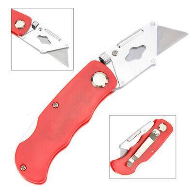 Folding Lock Back Utility Knife Box Cutter Clip 6 Blades Qui