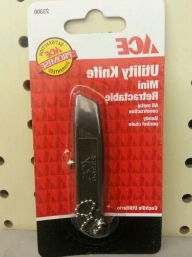 Mini Retractable Keychain Utility Knife Box Cutter Metal Key