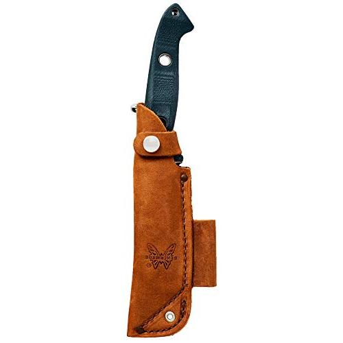 Benchmade Fixed Survival Knife Made in USA Leather Sheath and D-Ring, Drop-Point Blade, Plain Edge, Satin Red