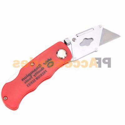 Folding Utility Knife Cutter 5 Blades Clip