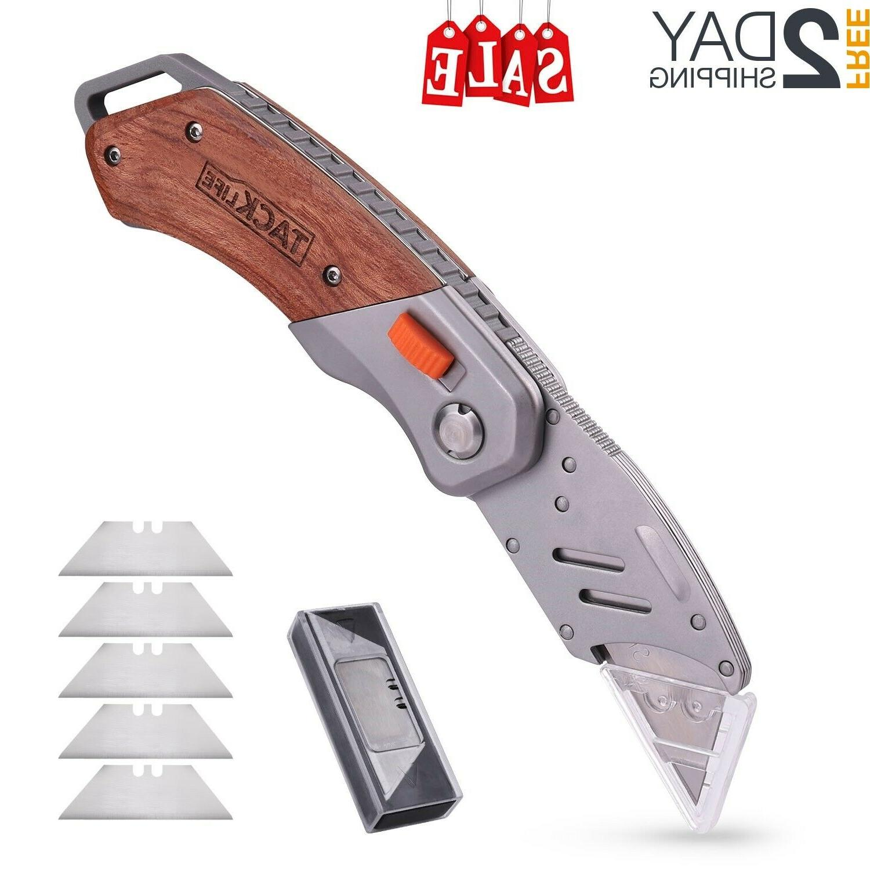 folding retractable lock back pocket utility knife