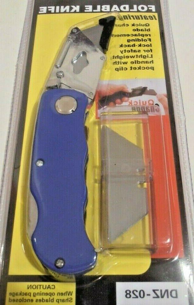 folding utility knife one new blue color