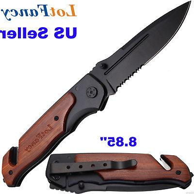 Folding Army Utility Pocket Knife Sharpener Tactical Surviva