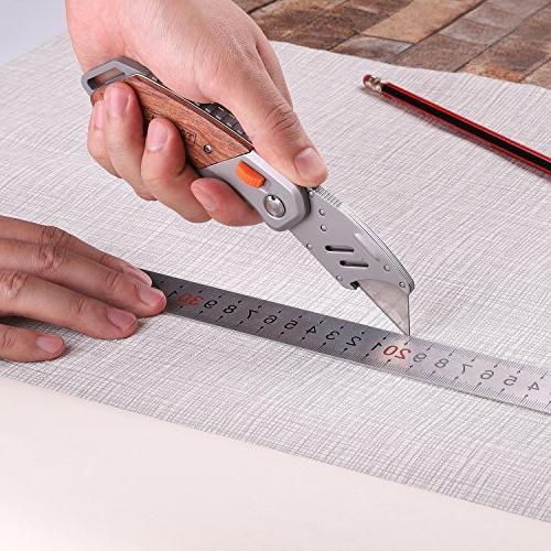 Utility Tacklife UKW03 Box Cutter Pocket 5 Extra Blades, Double-Sided Rosewood Design Blades