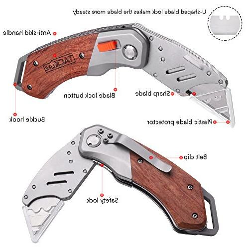 Utility Knife, Box Cutter Pocket Knife 5 Extra Double-Sided Rosewood Design Blades