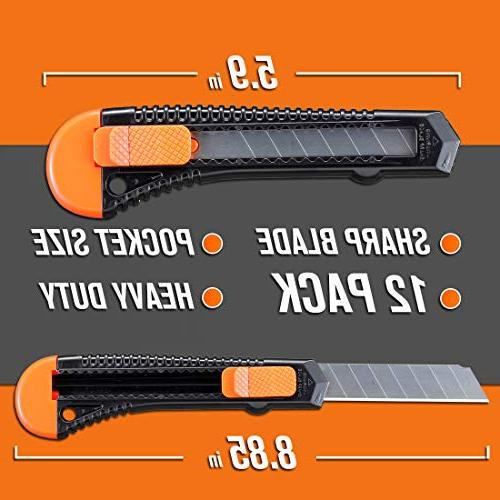Lnchett Utility Retractable Box Cutter Cartons, Boxes, 18mm Razor Sharp Blade, Smooth Mechanism, for use