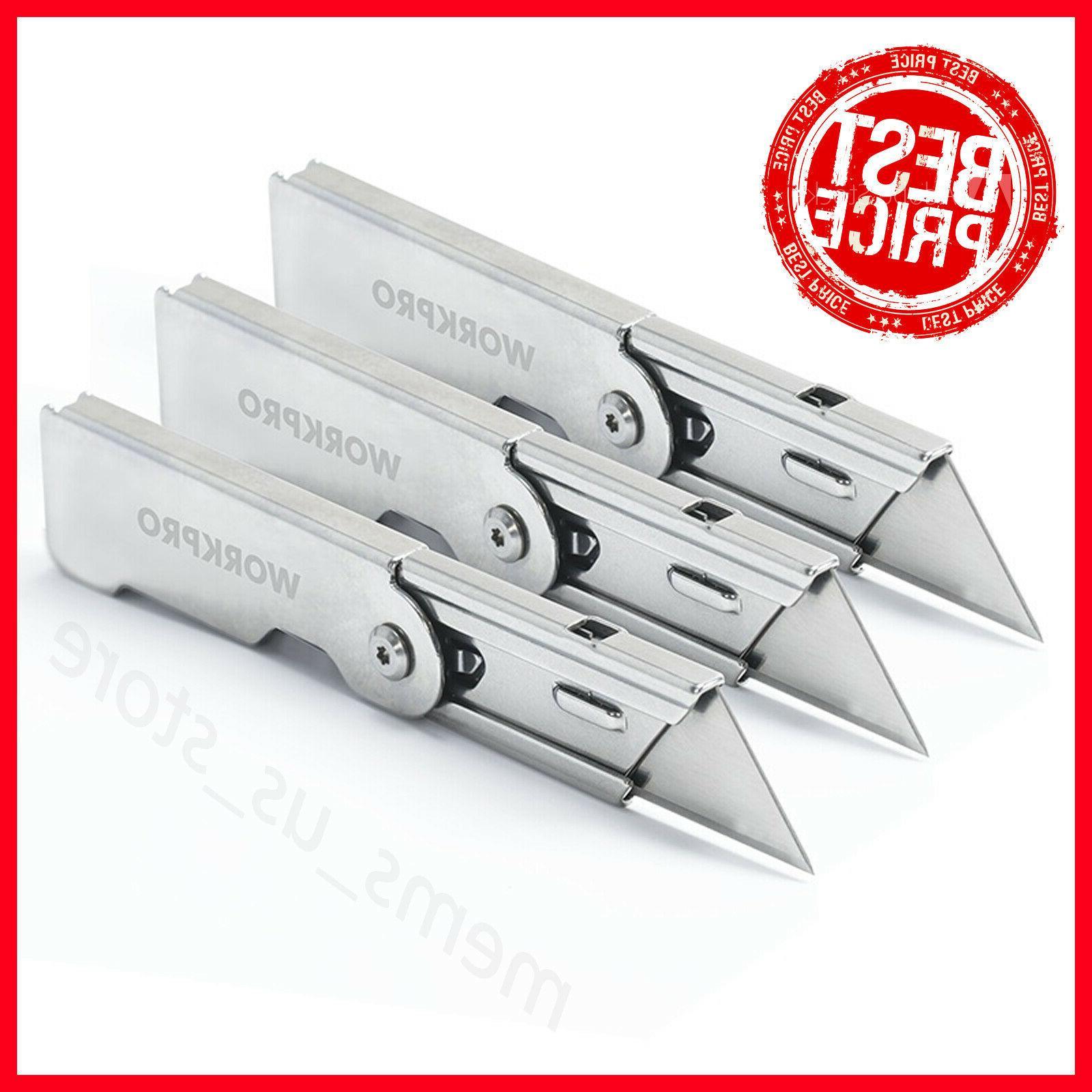 WORKPRO 3PC Folding Utility Knife Set Stainless steel Knife