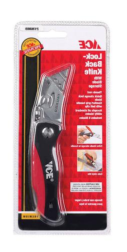 Ace Lock-back Utility Knife Black/Red Includes 6 Blades