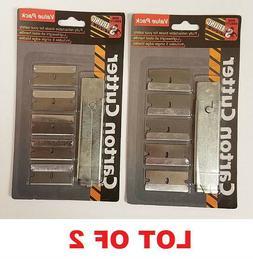 LOT OF 2 CARTON BOX CUTTER W/ REFILL SINGLE EDGE RAZOR BLADE