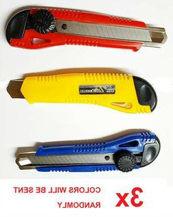 Lot - Pro Utility Knife Box Cutter Positive Dial Lock Snap O