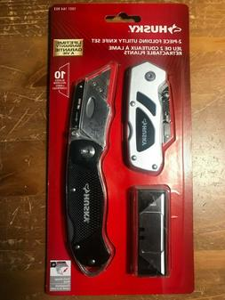 HUSKY Utility Knife Folding Lock-Back Belt Clip Box cutters