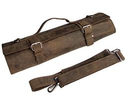 One Leaf - Leather Knife Roll Chefs Bag Hunter Leather - Bed