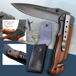 Utility Pocket Knife Sharpener Folding Tactical Survival Hun